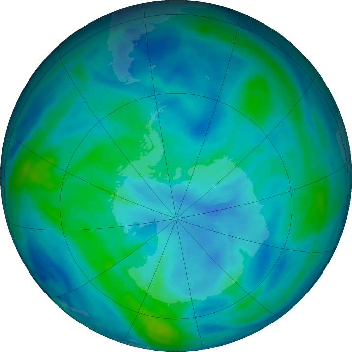 Antarctic ozone map for 29 March 2017