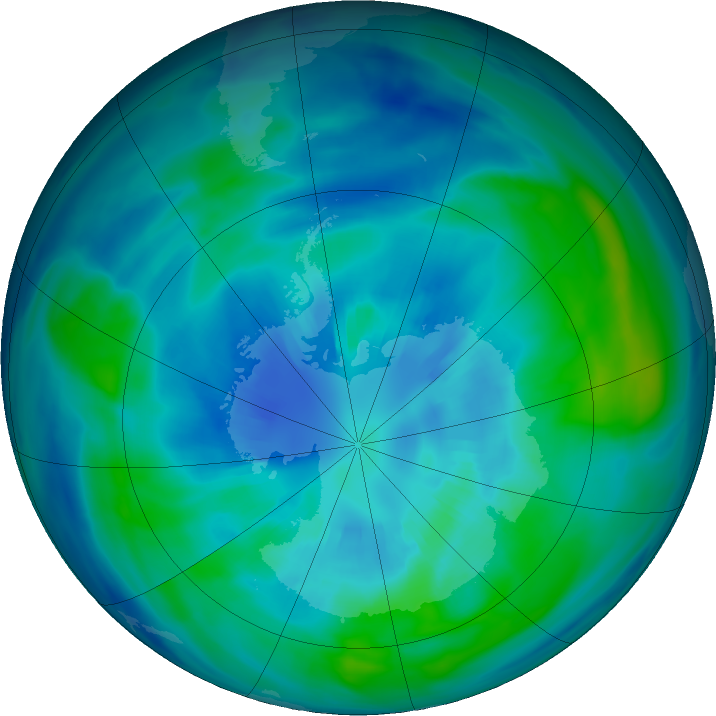 Antarctic ozone map for 03 April 2017