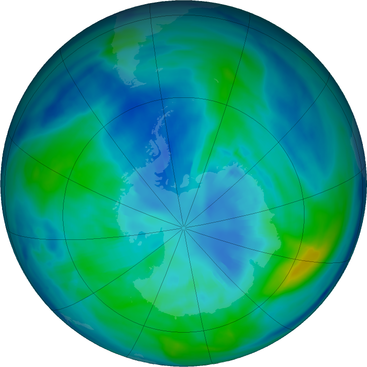 Antarctic ozone map for 07 April 2017