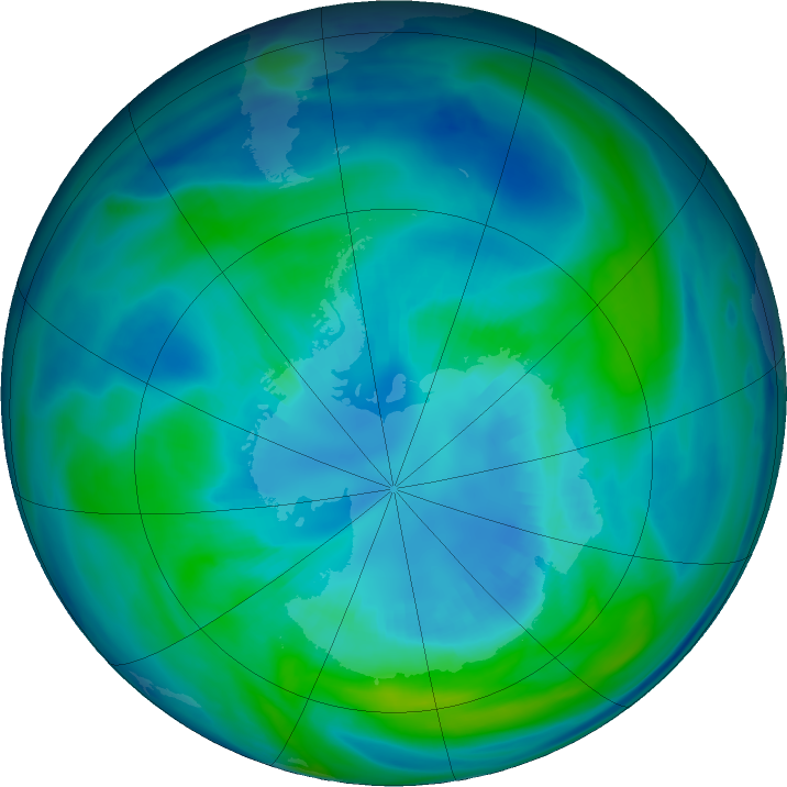 Antarctic ozone map for 09 April 2017
