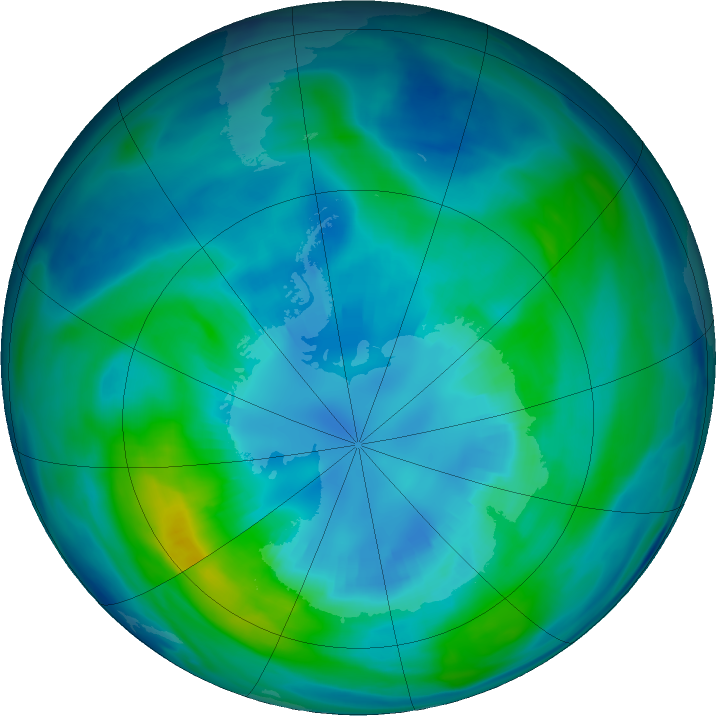 Antarctic ozone map for 11 April 2017