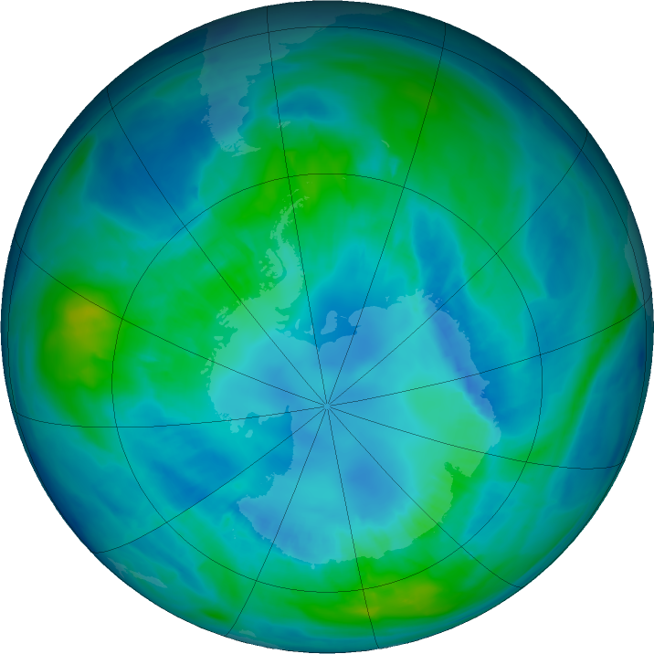 Antarctic ozone map for 14 April 2017