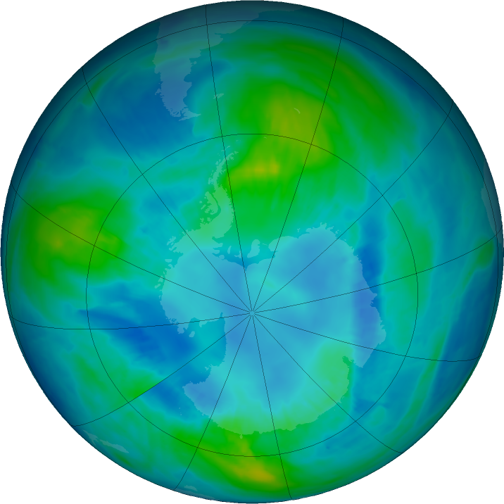 Antarctic ozone map for 15 April 2017