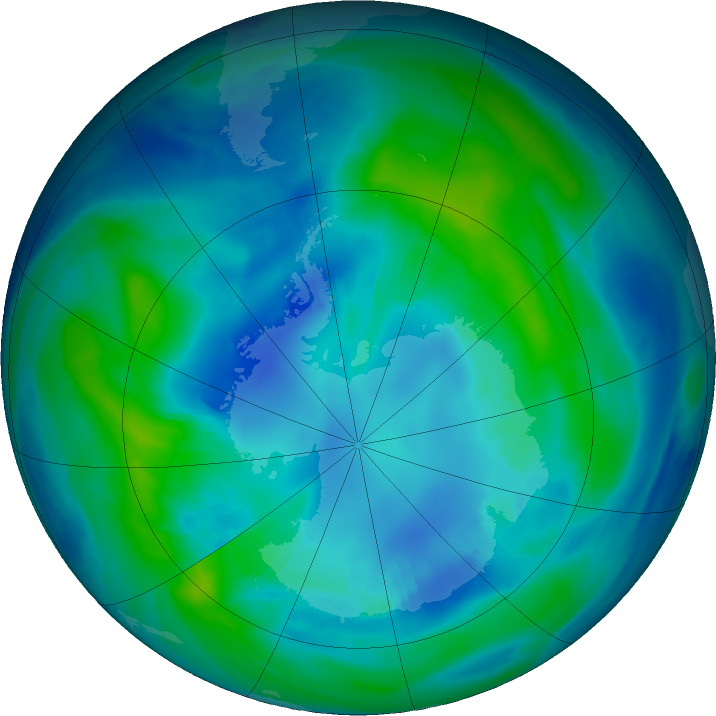 Antarctic ozone map for 17 April 2017