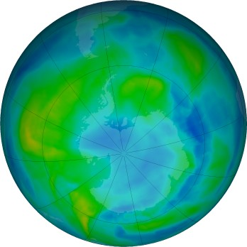 Antarctic ozone map for 2017-04-26