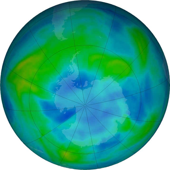 Antarctic ozone map for 27 April 2017