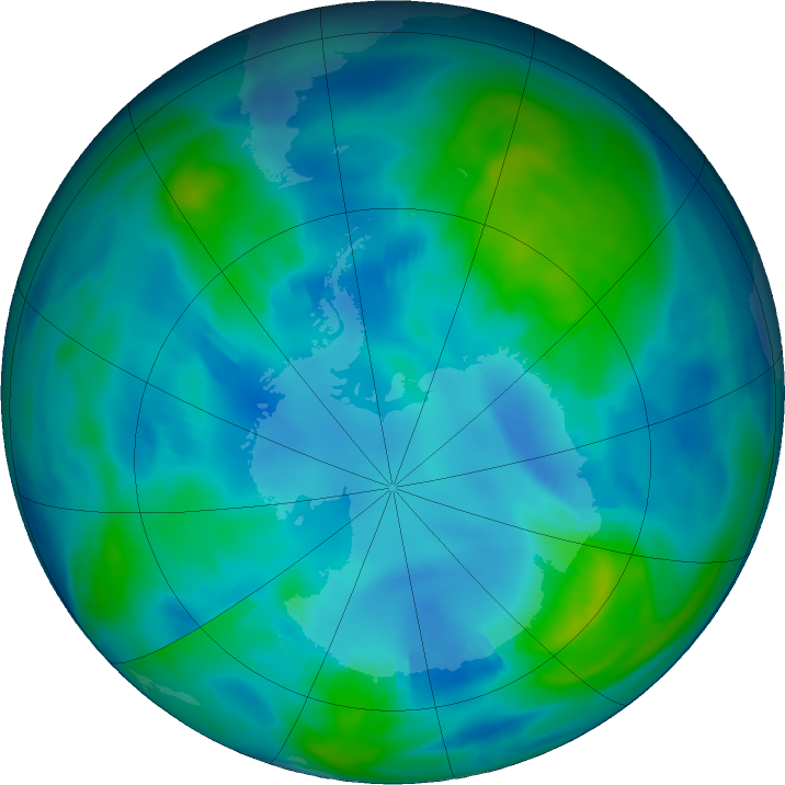 Antarctic ozone map for 01 May 2017
