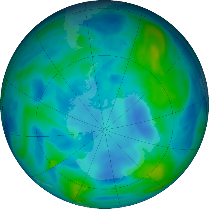 Antarctic ozone map for 02 May 2017