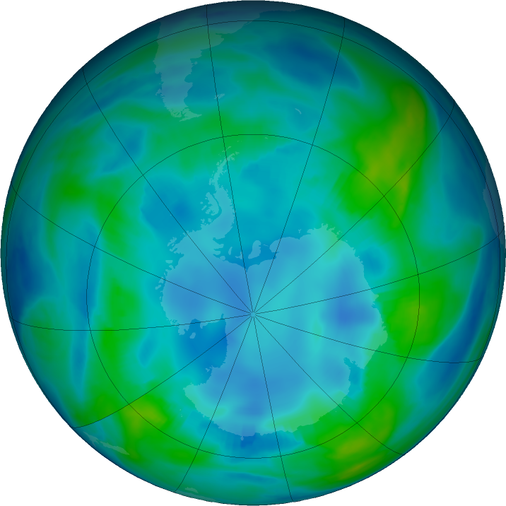 Antarctic ozone map for 03 May 2017