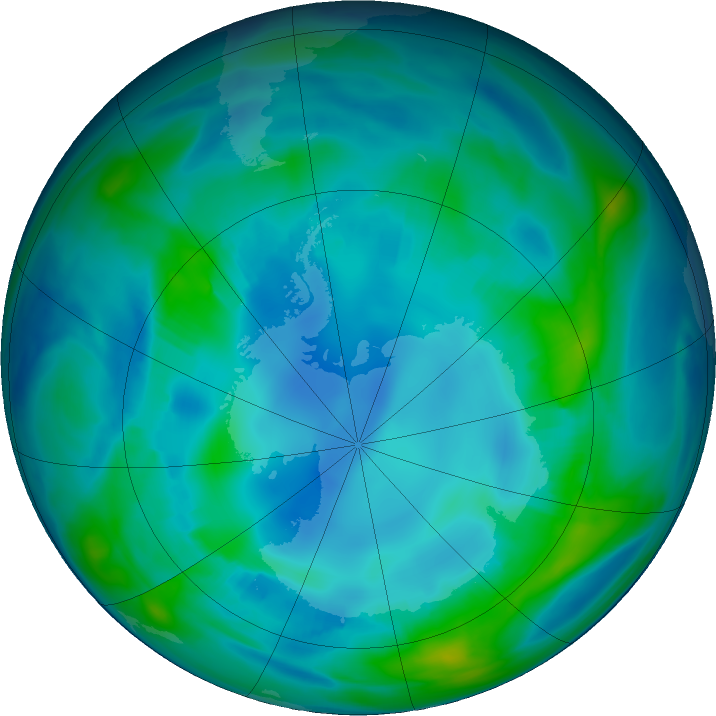 Antarctic ozone map for 04 May 2017