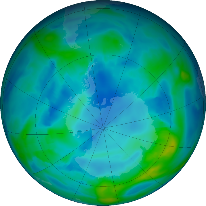 Antarctic ozone map for 05 May 2017