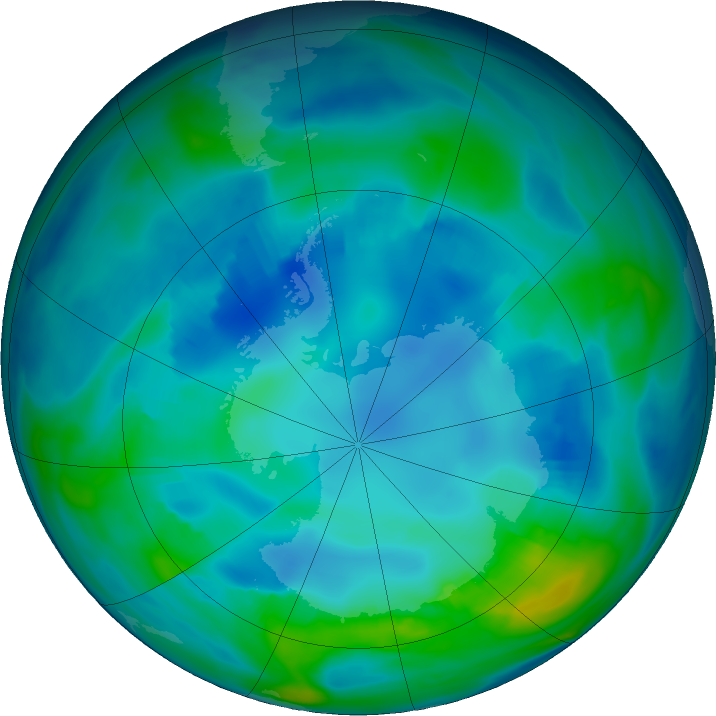 Antarctic ozone map for 06 May 2017