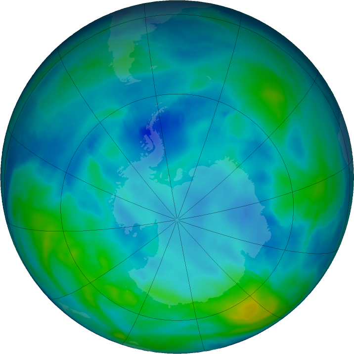 Antarctic ozone map for 07 May 2017