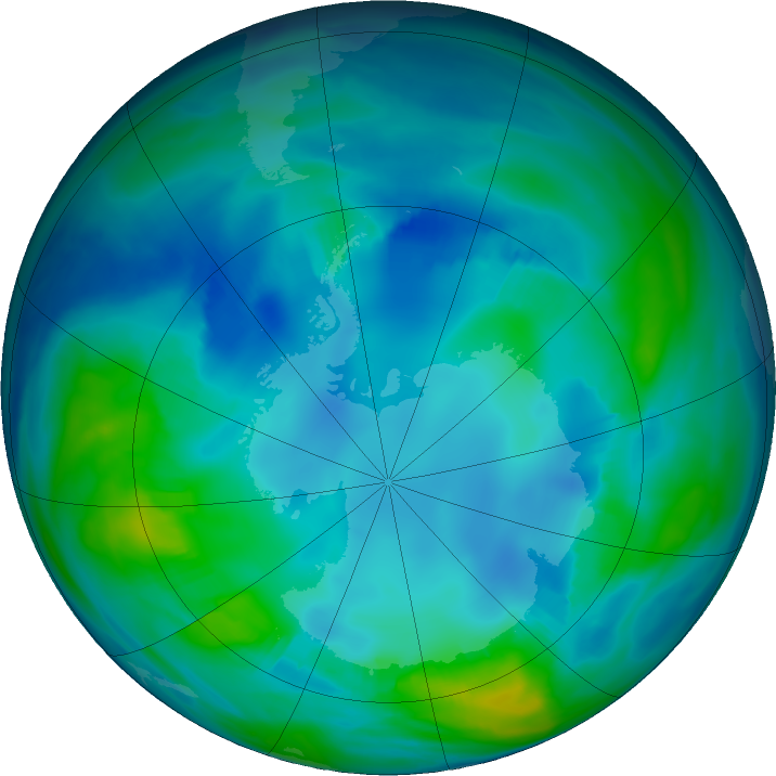 Antarctic ozone map for 08 May 2017