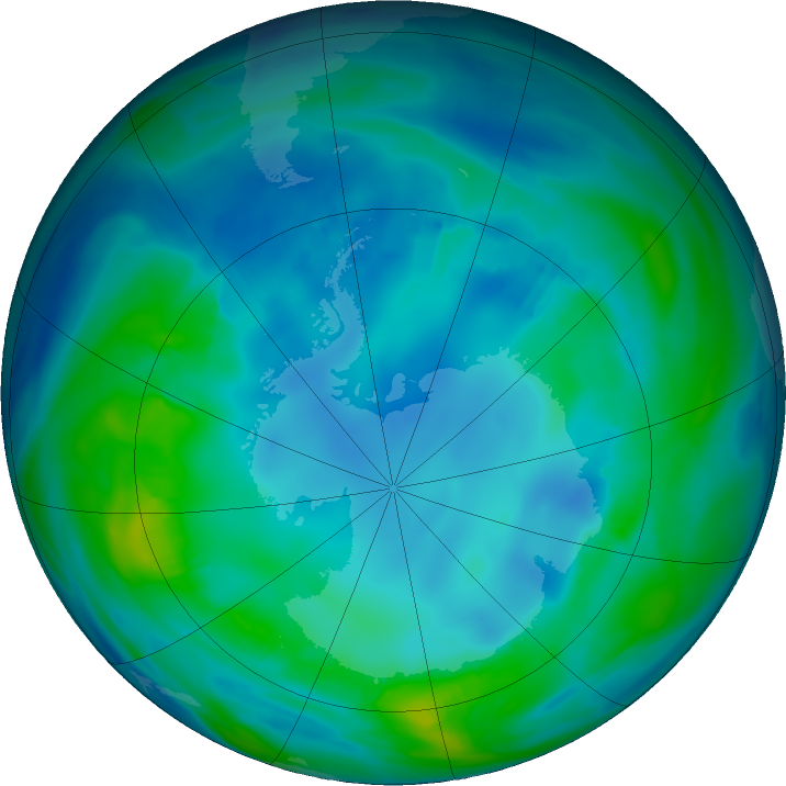 Antarctic ozone map for 09 May 2017