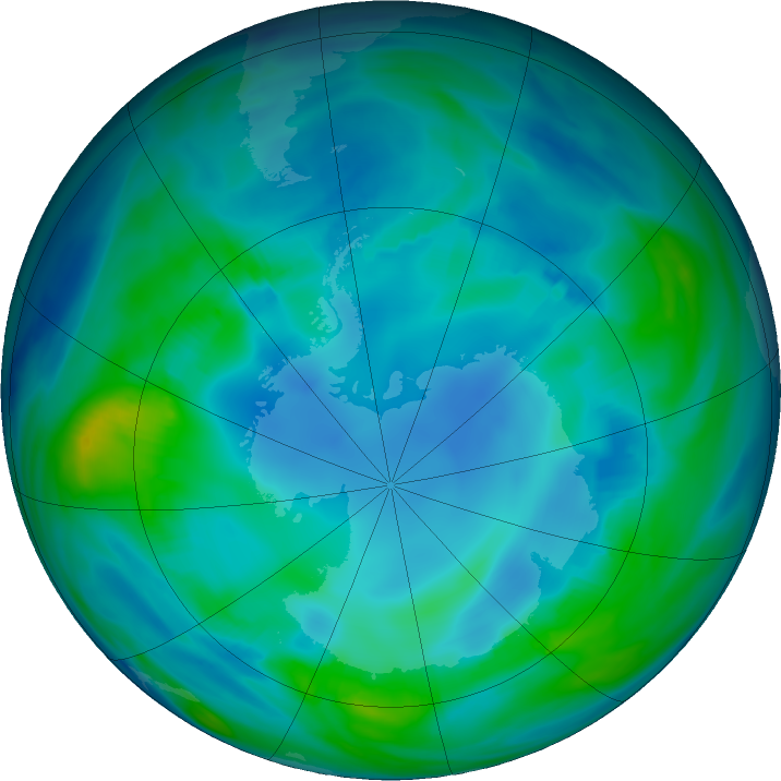Antarctic ozone map for 10 May 2017
