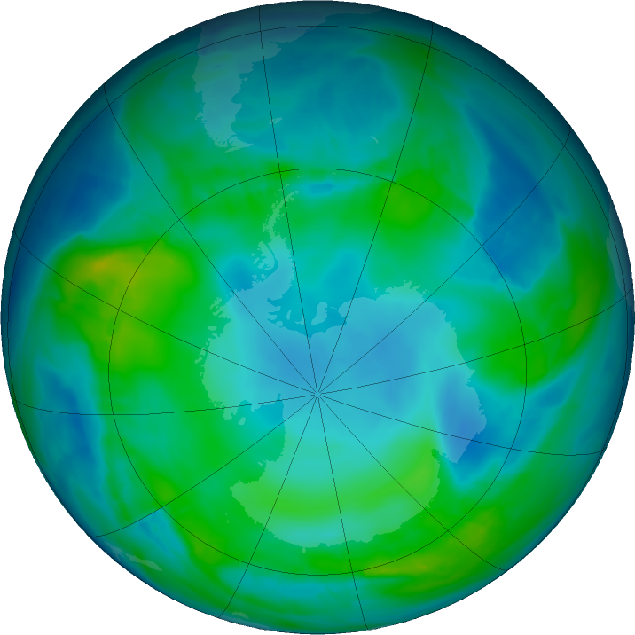 Antarctic ozone map for 11 May 2017