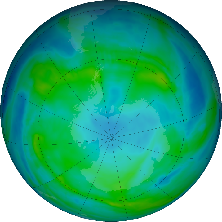 Antarctic ozone map for 12 May 2017