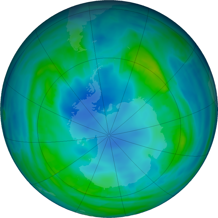 Antarctic ozone map for 14 May 2017