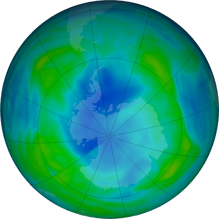 Antarctic ozone map for 15 May 2017