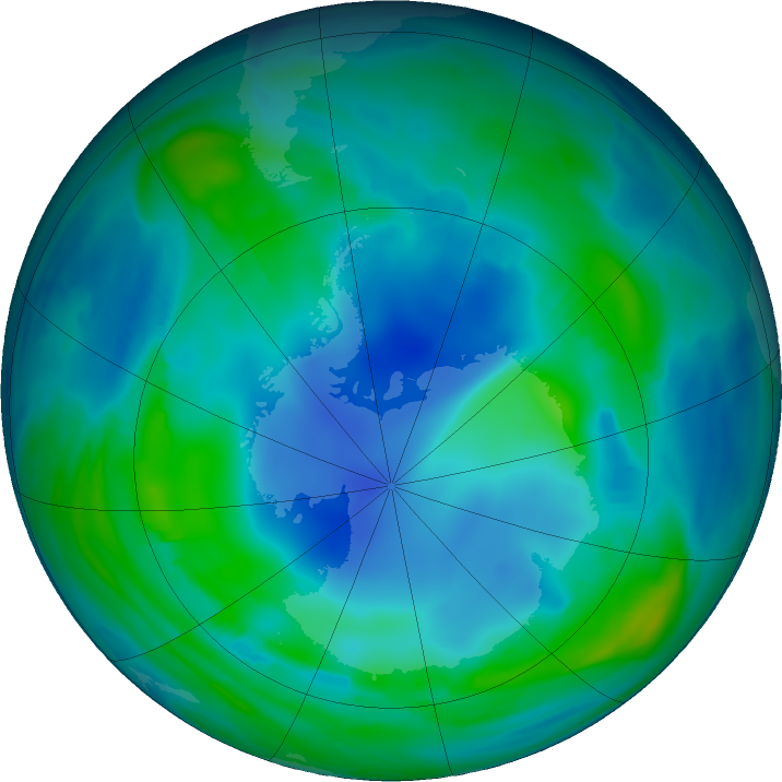 Antarctic ozone map for 16 May 2017