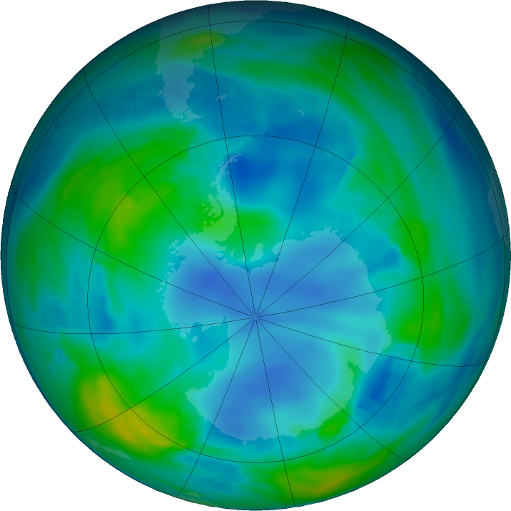 Antarctic ozone map for 19 May 2017