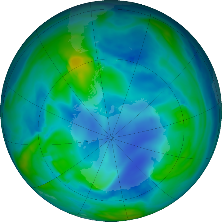 Antarctic ozone map for 21 May 2017