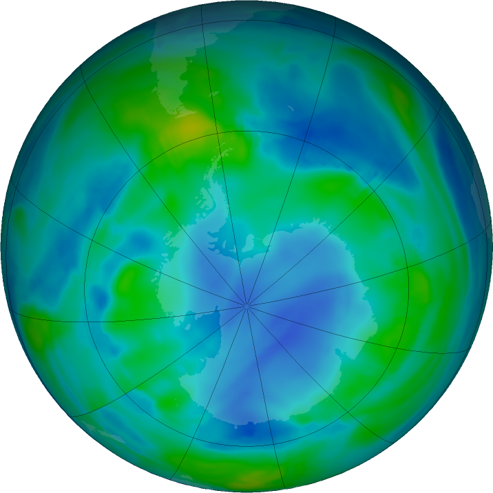Antarctic ozone map for 22 May 2017