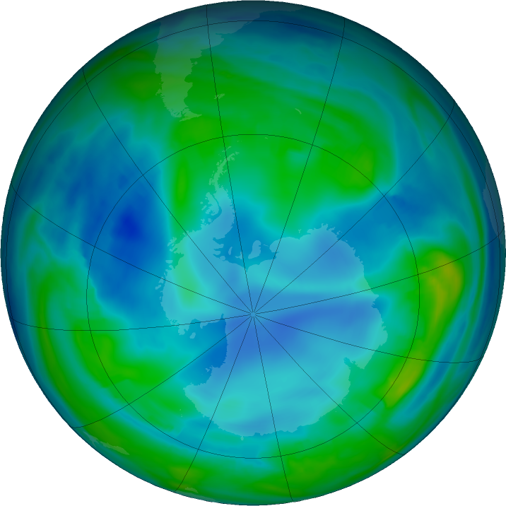 Antarctic ozone map for 24 May 2017
