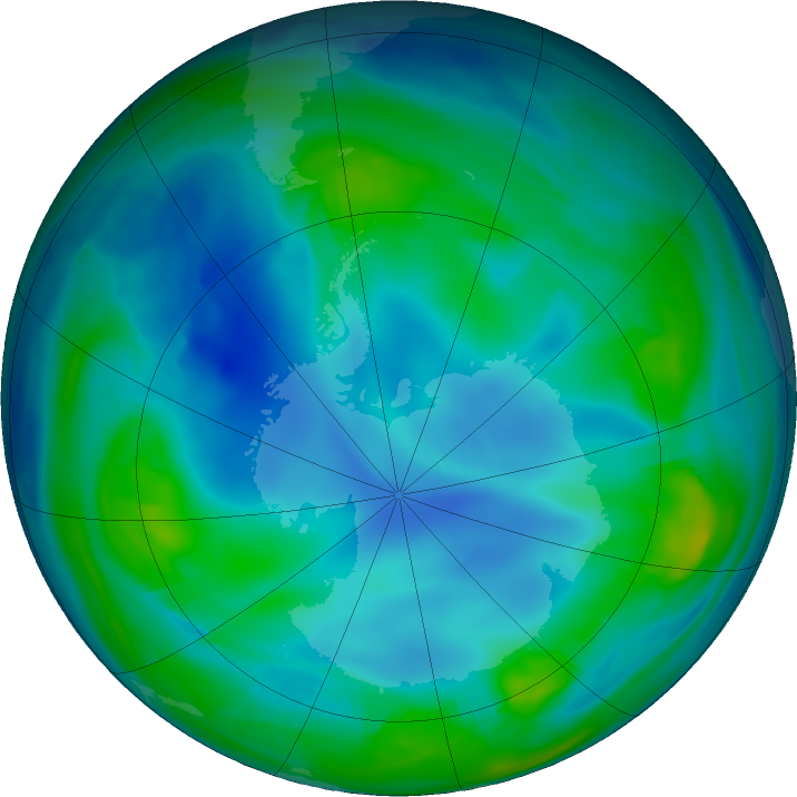 Antarctic ozone map for 25 May 2017