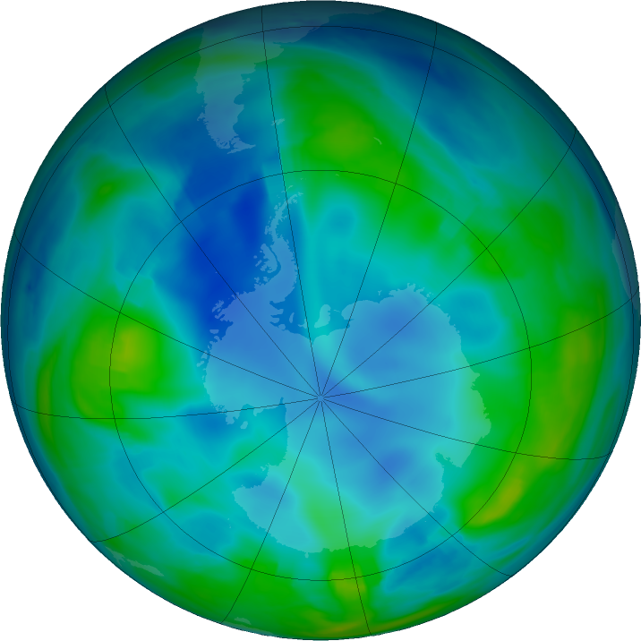 Antarctic ozone map for 26 May 2017