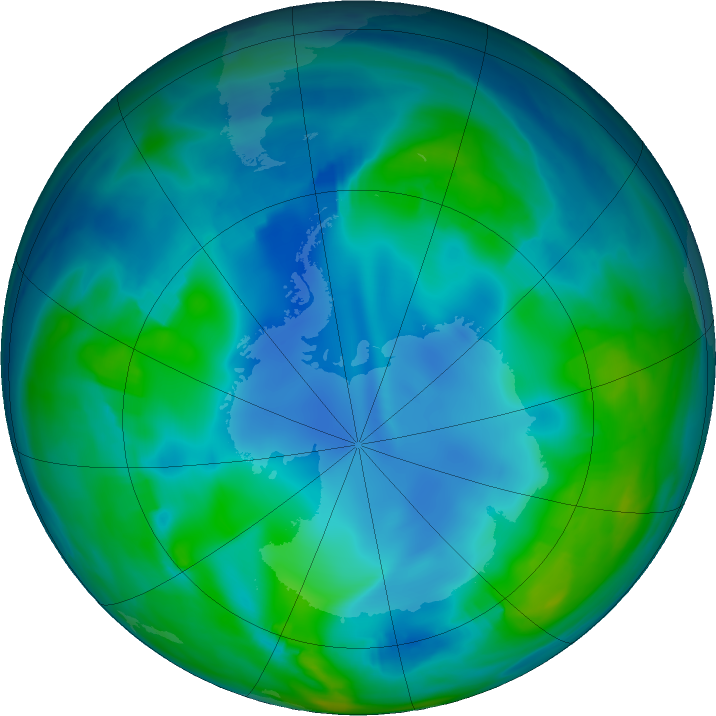 Antarctic ozone map for 27 May 2017