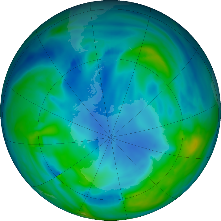 Antarctic ozone map for 28 May 2017