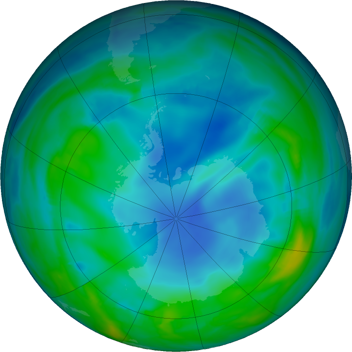 Antarctic ozone map for 31 May 2017