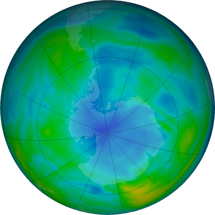 Antarctic ozone map for 02 June 2017