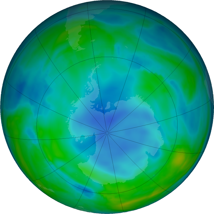 Antarctic ozone map for 03 June 2017