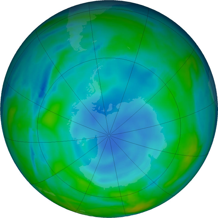 Antarctic ozone map for 06 June 2017