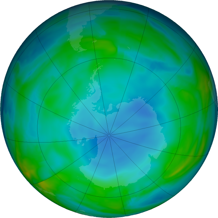 Antarctic ozone map for 10 June 2017