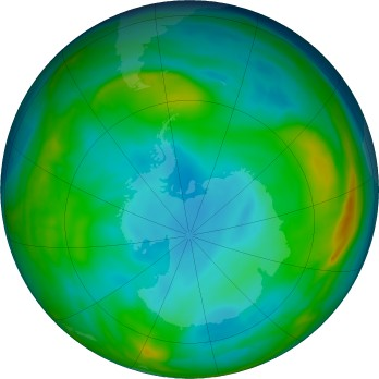 Antarctic ozone map for 2017-06-23