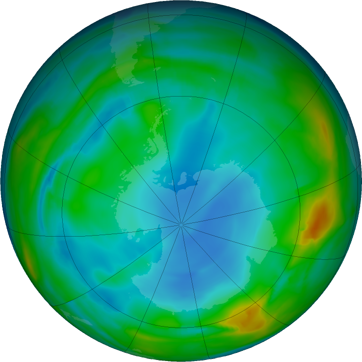 Antarctic ozone map for 29 June 2017