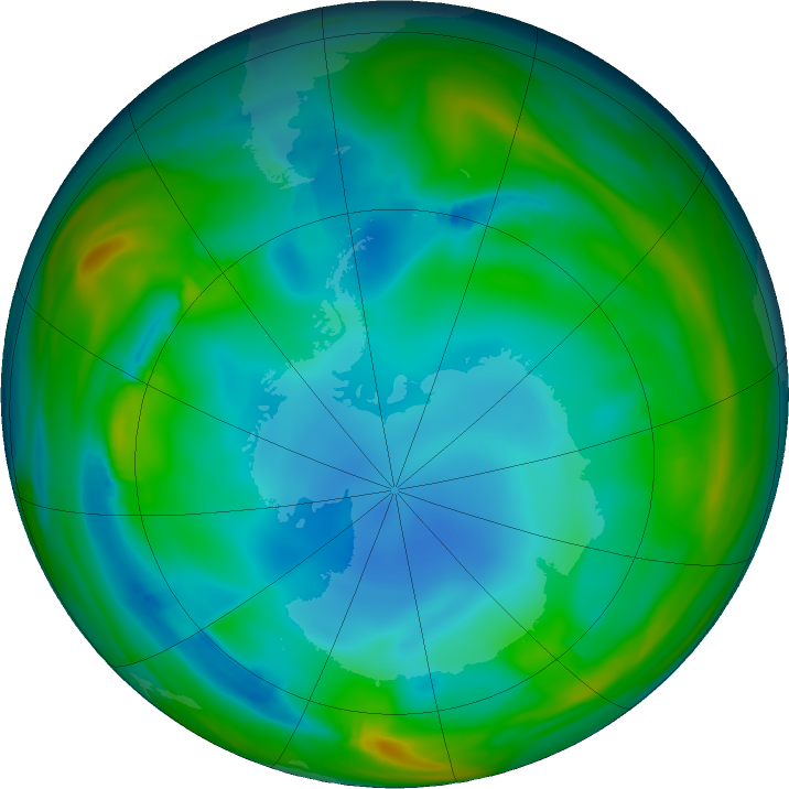 Antarctic ozone map for 01 July 2017