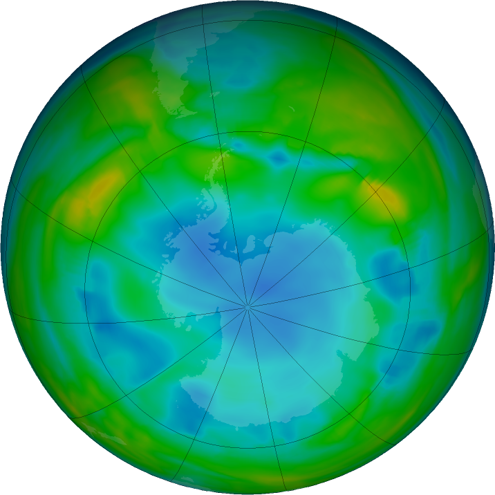 Antarctic ozone map for 03 July 2017