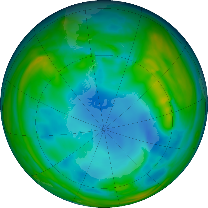 Antarctic ozone map for 04 July 2017
