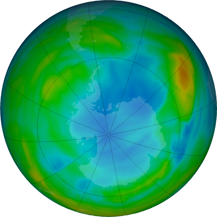 Antarctic ozone map for 07 July 2017