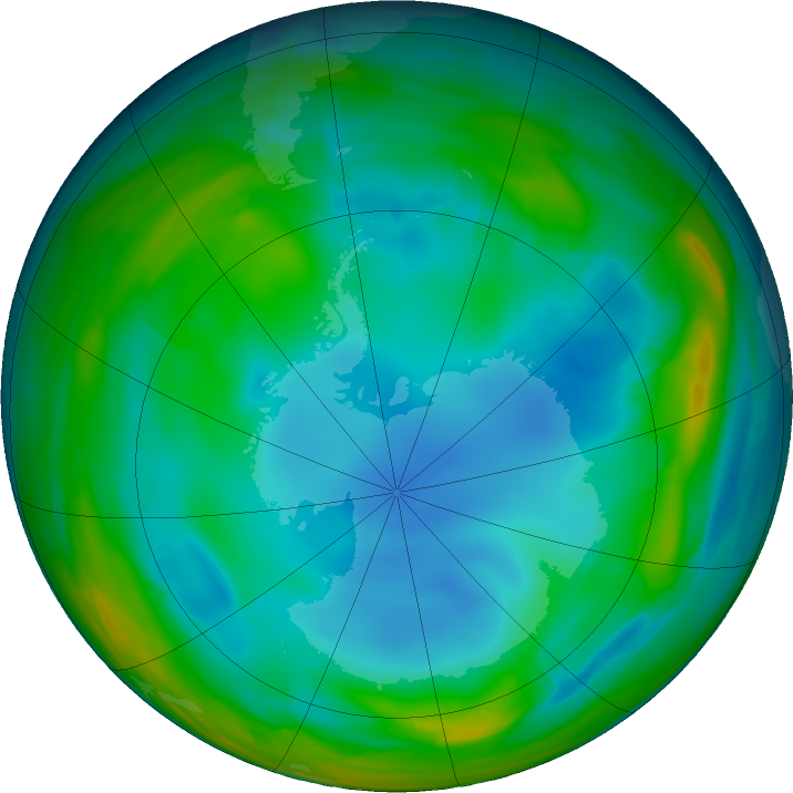Antarctic ozone map for 08 July 2017