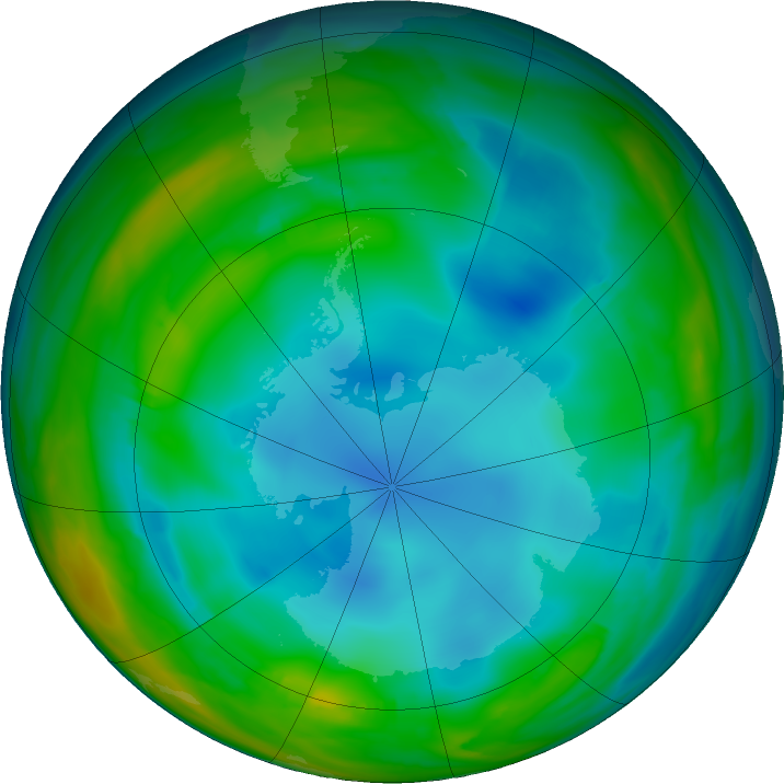 Antarctic ozone map for 10 July 2017