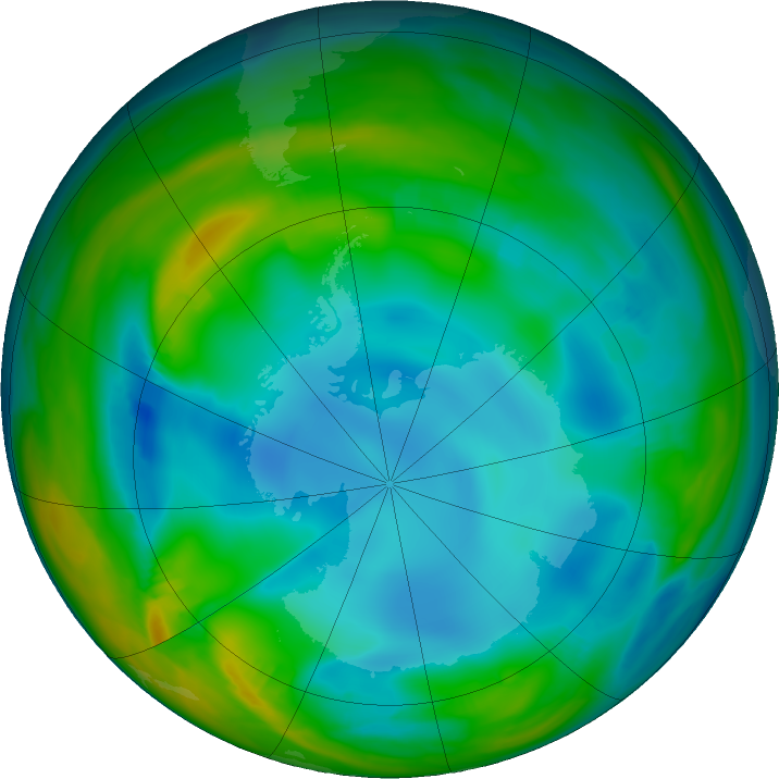 Antarctic ozone map for 11 July 2017
