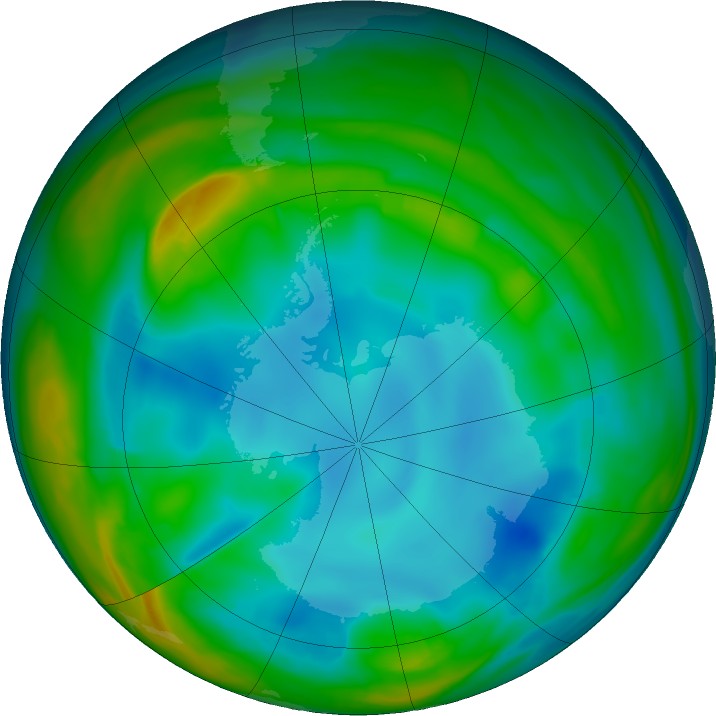 Antarctic ozone map for 12 July 2017