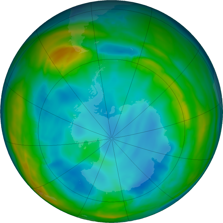 Antarctic ozone map for 13 July 2017