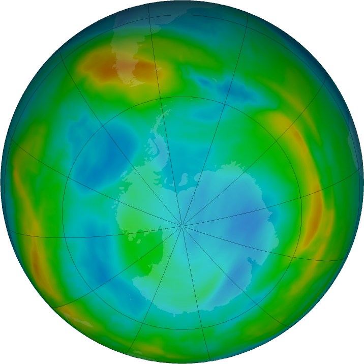 Antarctic ozone map for 14 July 2017